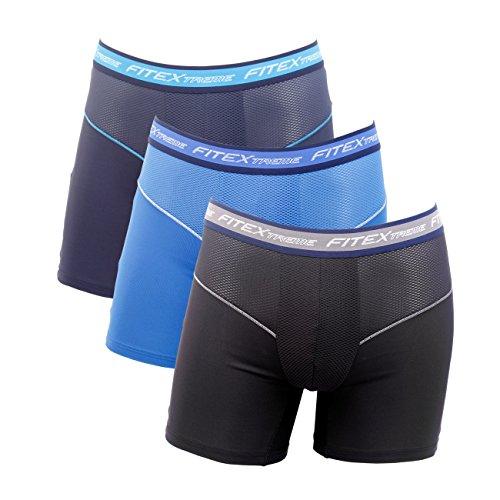 FiteX 3枚セット メンズ Cool 強力冷却 吸汗速乾 スポーツ ロング 夏ボクサーパンツ 高伸縮性 機能性下着 ファッショントランクス A M