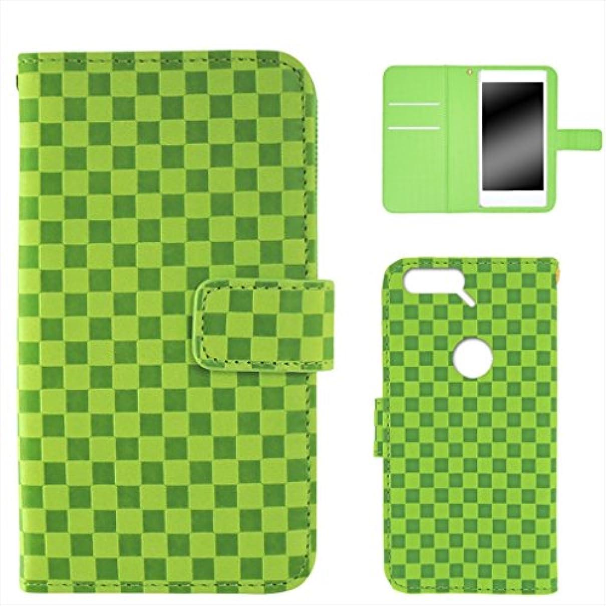 トーン木柔らかさWHITENUTS Nexus6P H1512 ケース 手帳型 市松柄 グリーン TC-D0114723/LL