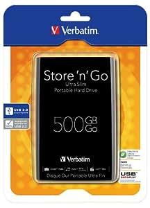 USB3.0対応 Verbatim Store 'n' Go(R) 500GB 10.5mm ウルトラスリムモデル ブラック 53150