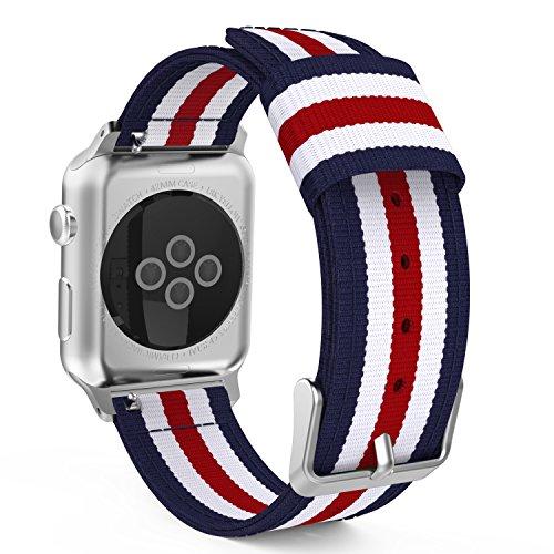 Apple Watch バンド - ATiC Apple Watch 42mm series 3/2/1用 編みナイロン製腕時計ストラップ/バンド/交換ベルト+バンドアダプター/交換ラグ 五縦縞Blue+White+Red (38mmに対応ない)