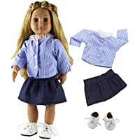 HongShun Fashion Doll Clothes Student Clothes+White Shoes Outfit for 46cm American Girl Doll