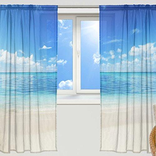 RoomClip商品情報 - マキク(MAKIKU) ミラーレースカーテン 遮光 断熱 遮熱 レースカーテン 出窓 ドアカーテン おしゃれ ハワイ 北欧 砂浜 海 ブルー シェードカーテン UVカット 薄い 目隠し 幅140cm×丈200cm 2枚組