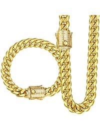 Trendsmax メンズ マイアミ ネックレス ブレスレット セット チェーン 喜平チェーン 316Lステンレス キュービックジルコニア ヒップホップ ゴールド 幅10mm 22.86cm+76.20cm