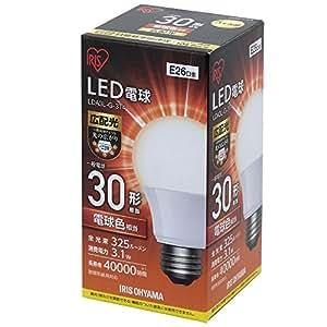アイリスオーヤマ LED電球 口金直径26mm 30W形相当 電球色 広配光タイプ 密閉器具対応 LDA3L-G-3T4