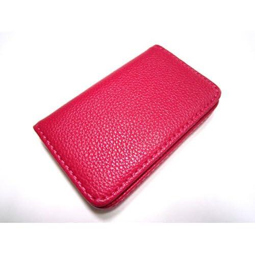 (カモミル) KAMOMIRU 選べる 5色 名刺入れ カードケース ビジネス カラフル 黒 赤 茶色 黄色 ピンク (ピンク)