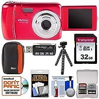 Vivitar ViviCam vxx14自撮りデジタルカメラ(レッド) with 32GBカード+ケース+ Flex三脚+リーダー+キット