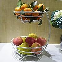 HLJ フルーツバスケットフルーツプレートリビングルームクリエイティブ2層フルーツバスケットキッチン収納バスケット (Color : White)