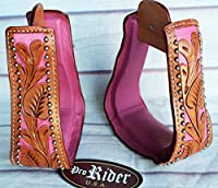 Western Show Horse Saddle Stirrups Replacement Pink Carving Tan Leather 5107