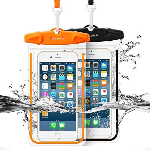 Easylife [2本セット] 防水ケース スマホ用防水ポーチ 防水等級IPX8 高感度PVCタッチスクリーン 夜間発光 お風呂 温泉 潜水 5.5インチまでのiPhoneとAndroidスマホに対応可能 (Black+Orange)