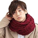 メンズストール専門店MORE Style #12-ワインレッド#ふわふわ編みスヌード /ストール/メンズ/ネックウォーマー