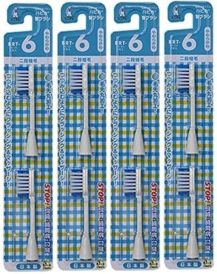 すり減るシーボード満足できる電動歯ブラシ ハピカ専用替ブラシやわらかめ 2段植毛2本入(BRT-6T)×4個セット