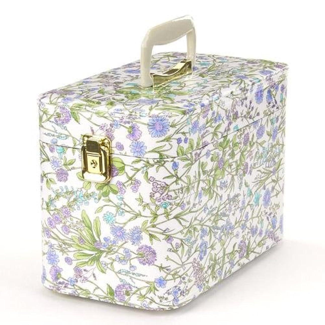 クロール噂延ばす日本製 メイクボックス (コスメボックス)ハーブガーデン 30cm スカイブルー トレンケース(鍵付き/コスメボックス)