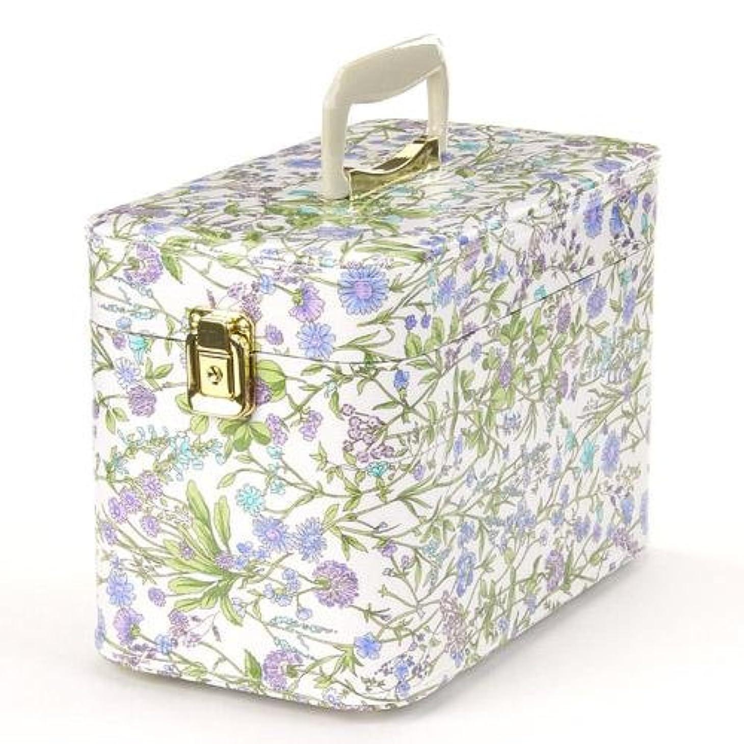レディ国サイトライン日本製 メイクボックス (コスメボックス)ハーブガーデン 30cm スカイブルー トレンケース(鍵付き/コスメボックス)