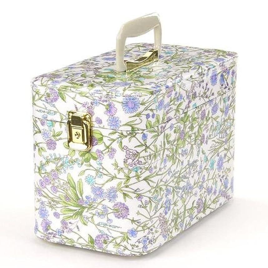 談話あざキウイ日本製 メイクボックス (コスメボックス)ハーブガーデン 30cm スカイブルー トレンケース(鍵付き/コスメボックス)