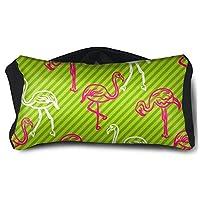 緑とピンクのストライプのフラミンゴの鳥模様 性格、カスタマイズ 2の1家のための首の枕アイマスクと光を遮断するための昼寝