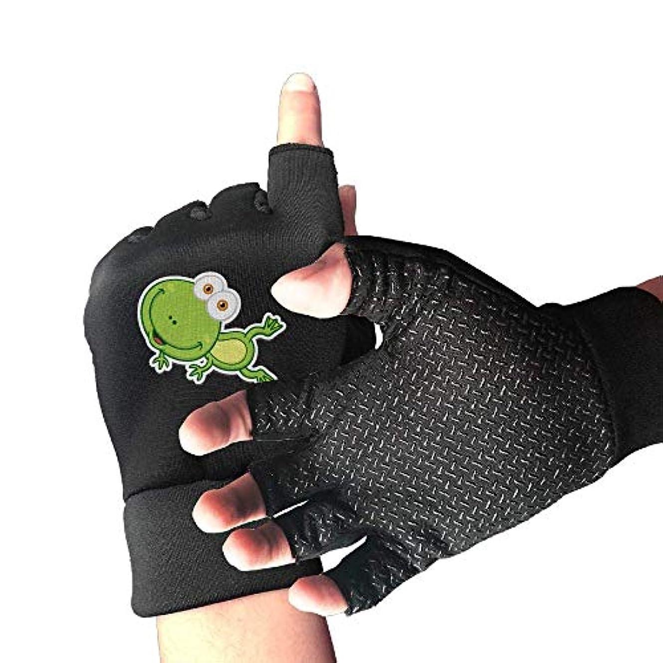 つぶす結婚式覚えているサイクリンググローブグリーンカエル赤ちゃん用メンズ/レディースマウンテンバイク用手袋ハーフフィンガー滑り止めオートバイ用手袋
