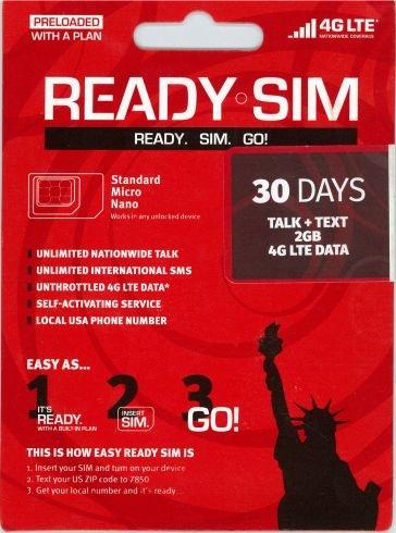 アメリカ Ready プリペイド SIM アクティベーションが簡単! (通話とSMS、データ通信2GB 30日間)