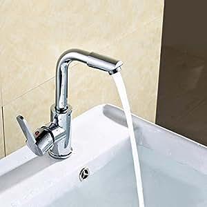 キッチン蛇口   キッチン水栓 洗面台 蛇口 任意の角度回転可能 混合水栓 黄銅とクロムをめっき材質高耐久性 (混合水栓)