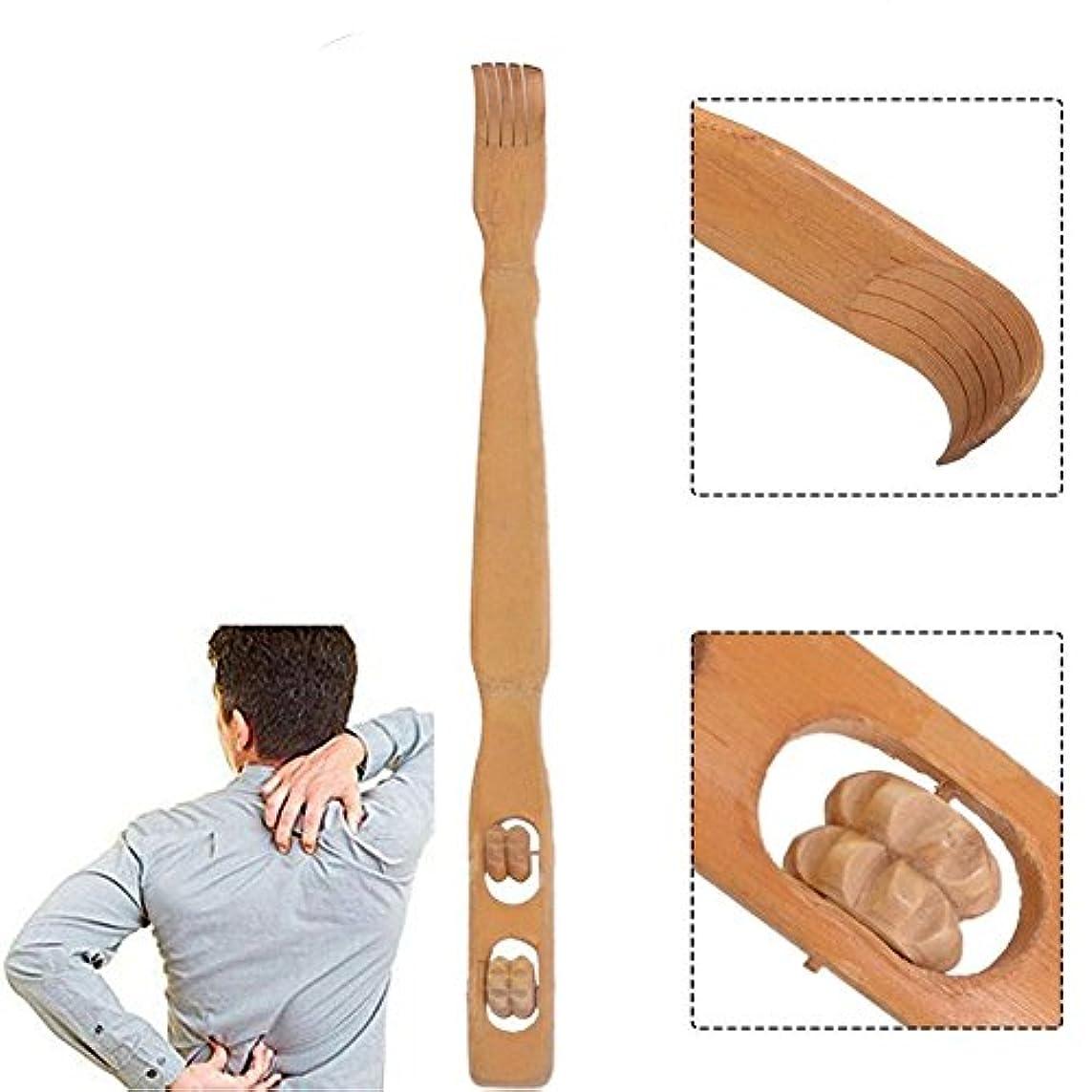 質素な知り合いスワップKixnor木製ハンドヘルドダブル竹ローラーバックセルフマッサージ18.3