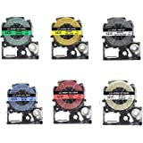 6Pcs ST12KW SS12KW Combo Set 12Mm Cassette Refills for Epson LabelWorks LC-4WBN9 LW-300 LW-500 LW-700 Label Maker
