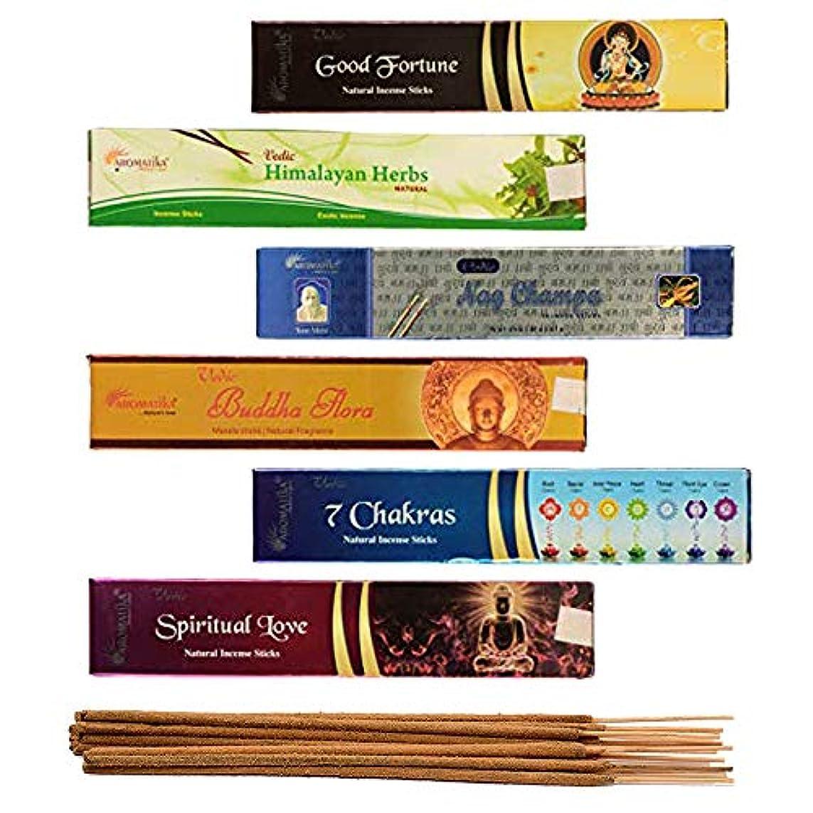 六月本部排泄物aromatika 6 Assorted Masala Incense Sticks Vedic Nag Champa、7チャクラ、ブッダFlora、Himalayanハーブ、Good Fortune、Spiritual Love WithメタルSun Incense Stick Holder