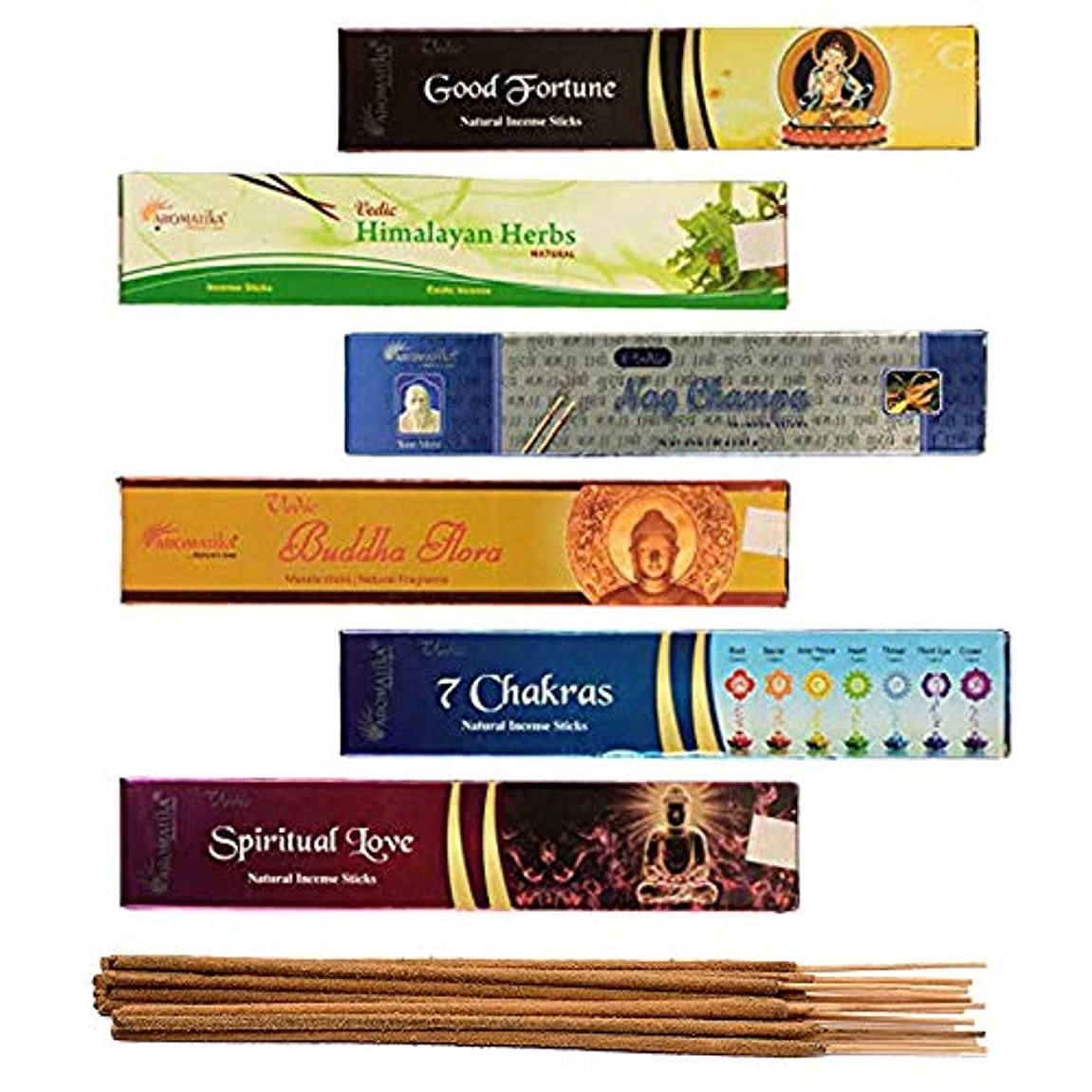 すすり泣き広いためにaromatika 6 Assorted Masala Incense Sticks Vedic Nag Champa、7チャクラ、ブッダFlora、Himalayanハーブ、Good Fortune、Spiritual...