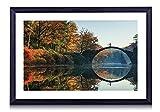 壁掛けインテリア絵画 - Rakotz Bridge Autumn Eastern Germany - 黒い額縁 壁掛け モダン インテリア アート 風景画 装飾 壁飾り 部屋の装飾 ポスターー - 40cmx30cm