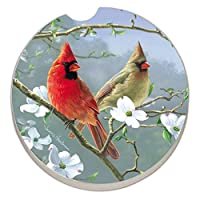 Counter Art Absorbent Stoneware Car Coaster, Beautiful Songbirds Cardinals by CounterArt
