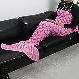 レディース マーメイド マーマン 人魚姫 セーター 毛布 かけ布団 うろこ 編み地 柔らか ふんわり 保温 オリジナル  (柄A・ピンク)