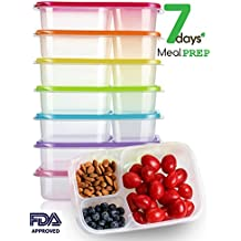 Meal Prep Containers with Lids Set of 7,Plastic 3 Compartment Food Storage Containers with Lids,BPA Free,Reusable,Microwave,Dishwasher Safe