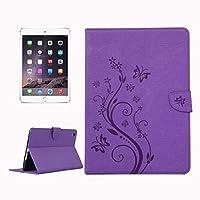 HOMESTAYDD ipadのミニ3ケース、押された花蝶柄水平フリップpuレザーケース付きipadのミニ3用磁気バックル&ホルダー&カードスロット&財布 (Color : 紫の)
