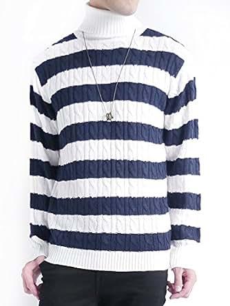 (オークランド) Oakland ケーブル編み ニット セーター ケーブル デザイン カジュアル トップス 編み MODE メンズ ネイビー×オフホワイト LLサイズ
