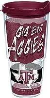 Tervis 1218793 テキサス A&M アギーズ カレッジ ステートメント タンブラー ラップ マルーン 蓋付き 24オンス クリア