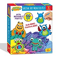 Peachy Keen Crafts Monster Shrink Art Kit - Complete Shrinky Activity Set with 4 Hinging Designs Googly Eyes and Colored Pencils [並行輸入品]