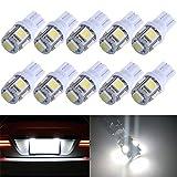 TePen T10 LEDライト 10個1セット 360°発光ホワイト アルミヒートシンク設計 12V 5連SMD 汎用タイプ 30000時間寿命 LEDウェッジ球 ルームランプ/ナンバー灯 1年保証 (10 Pcs)