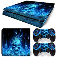 Sony PS4 Playstation 4 Slim Skin Design Foils Faceplate Set - Blue Skull Design