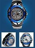 【貞恵】TEIKEI 腕時計 子供用スポーツウォッチ 多機能 デュアルタイム アナデジ表示 0998 ブルー