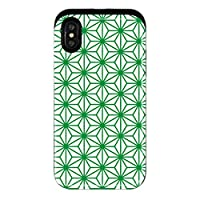 mitas iPhoneXR ケース ハイブリットケース 耐衝撃 和柄 麻の葉柄 緑 (929) HYB-0101-GR/iPhoneXR