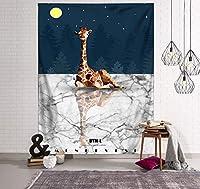 創造的な自然風景タペストリー, 植物動物と森林壁の装飾掛け布サボテン緑の葉の鳥と鹿の装飾壁毛布の寮-s 150x100cm(59x39inch)
