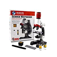 Jiusion子供の顕微鏡サイエンスキット、100X 400X 1200X三眼拡大初心者科学玩具ホームスクール教育科学生物学的な手持ちカメラ顕微鏡顕微鏡スライド