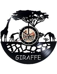 アフリカ キリンビニール レコード 壁掛け 時計 - 子供部屋の壁の飾りを得ます - 姉妹、子供のためのギフトのアイデア - ユニークなアート デザイン