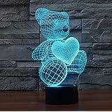 youzone Magicalパネル3d光学式ビジュアル化イリュージョン7色変更USBタッチスイッチテーブルランプBulbing LEDライト夜間照明ホーム装飾家庭用ライト( Love Bear ) Love Bear