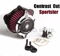 コントラストカット分割鈍い空気清浄機インテークフィルター用ハーレースポーツスター1200 883フォーティーエイト91-19