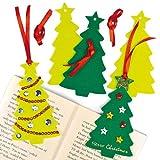 クリスマスツリー フェルトしおり(8枚入り)子どもたちの工作に