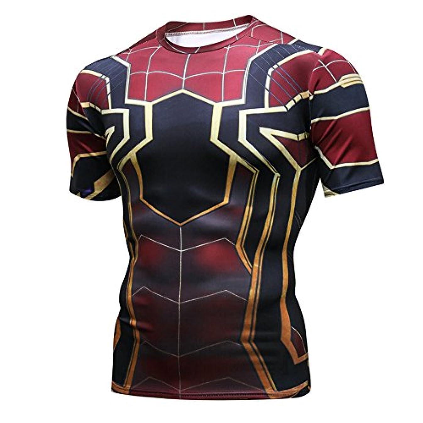 オーバーコート溶かす傷跡NINI メンズ スポーツウェア スパイダーマン Tシャツ 吸汗速乾 スポーツ tシャツ 3D高品質プリント 半袖tシャツ