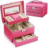 特大スペース収納ビューティーボックス 女の子の女性旅行のための新しく、実用的な携帯用化粧箱およびロックおよび皿が付いている毎日の貯蔵 化粧品化粧台 (色 : ローズレッド)