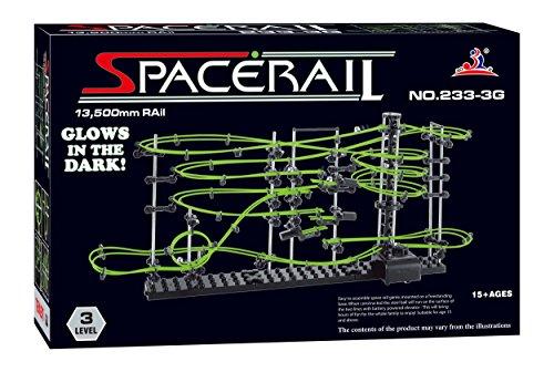 スペースレール(SPACE RAIL) 暗闇で光る 蓄光型 無限ループ スペースレール パズル 知育 脳トレ ジェットコースターのような未来的知育玩具 インテリアとしても存在感大 (233-3G(レベル3))