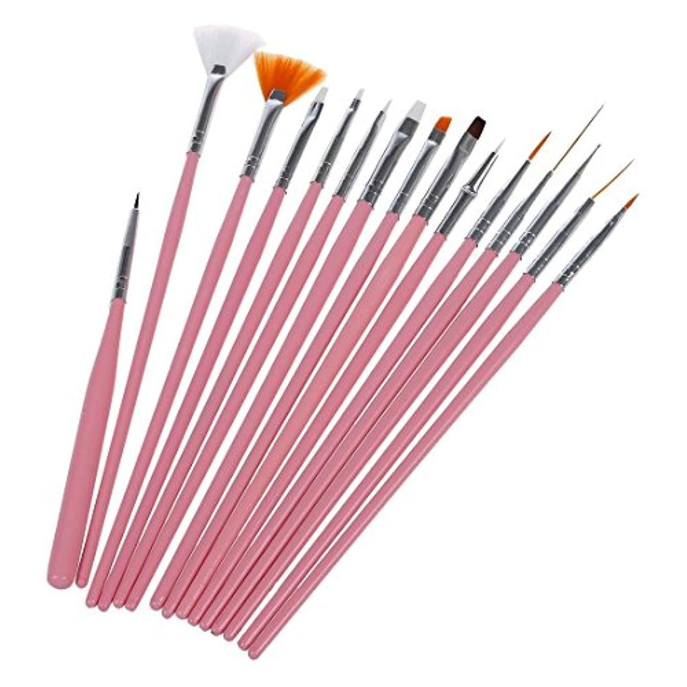 SODIAL(R) 15Xネイルアートアクリル UVジェル 設計ブラシセット ペインティングペン チップツールキット ピンク