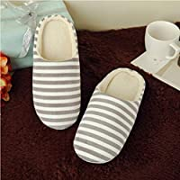 Women's & Men's Striped Indoor Cotton Slippers Anti-Slip Winter House Shoes Soft Bottom Cotton Slippers Home Slippers - Coffee 38/39
