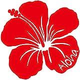 nc-smile ハワイアンステッカー ハイビスカス Aloha (B, レッド)